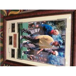 AUTOGRAPHED PRINT - MASTERS GREATS - ARNOLD PALMER, JACK NICKLAUS, TIGER WOODS