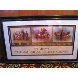 3 PRINTS - FRAMED THE AMERICAN TRIPLE CROWN, FRAMED SMARTY JONES BY FRED STONE, SECRETARIAT BELMONT