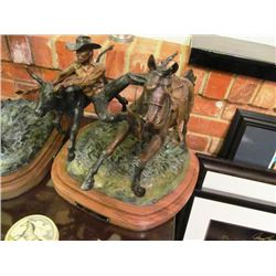 ROSS CONTWAY SCULPTURES - BULL DOGGER, BRONC RIDER