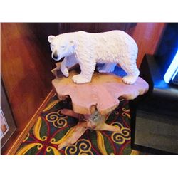 TWO SCULPTURES - POLAR BEAR X 2. ONE WITH HAND CARVED WOODEN STAND