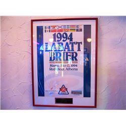 LABATT BRIER FRAMED AUTOGRAPHED POSTER - 1994, RED DEER, ALBERTA - RICK FOLK, PAT RYAN, BERT GRETZIN