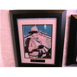5 FRAMED PICTURES WITH NAME PLAQUES - JOHN WAYNE/JOHNNY CASH/ELVIS/THE BEATLES/JAMES DEAN