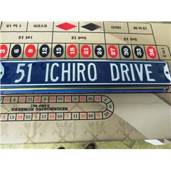 4 STEEL STREET SIGNS - 51 ICHIRO DRIVE, LEBRON JAMES CT, CURT SCHILLING AVE, WRIGLEY FIELD