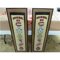 TWO ORIGINAL 6 LARGE FRAMED BANNERS - MONTREAL,TORONTO, BOSTON, NEW YORK, DETROIT, CHICAGO