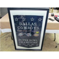CHAMPIONSHIP LARGE FRAMED BANNER - DALLAS COWBOYS