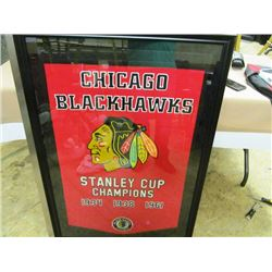 CHAMPIONSHIP LARGE FRAMED BANNER - CHICAGO BLACKHAWKS