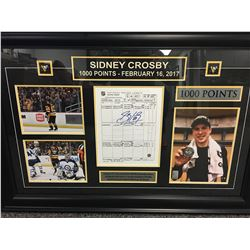 FRAMED SIDNEY CROSBY 1000 POINTS FEBUARY 16, 2017