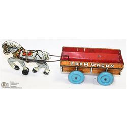 COLLECTIBLE TIN PLATE FARM WAGON TOY