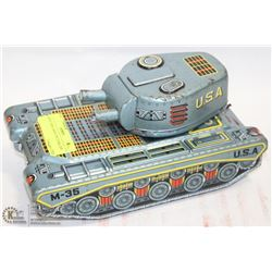 COLLECTIBLE LARGE 1950s JAPAN TIN TANK TOY