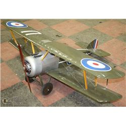 FRIDAY NIGHT COLLECTIBLE LARGE 1/6 SCALE REPLICA REMOTE WW1 SOPWITH CAMEL BIPLANE. APPROX 4 FT WING