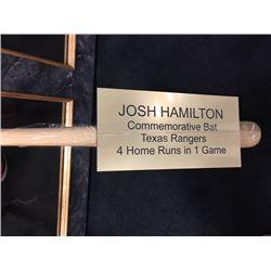 JOSH HAMILTON COMMEMORATIVE BAT TEXAS RANGERS SIGNED