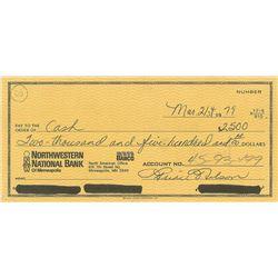 Prince Signed 1979 Check
