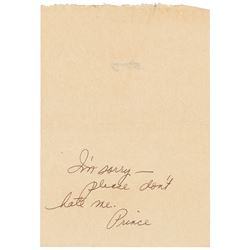 Prince Handwritten Signed Note