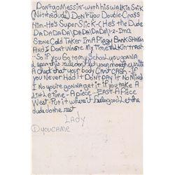 Prince Handwritten Lyrics on Reverse of 1981 Concert Poster
