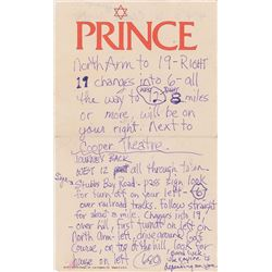 Prince Handwritten Notes on Personal Letterhead