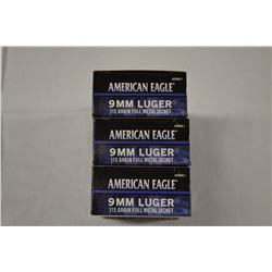 150 ROUNDS AMERICAN EAGLE 9MM LUGER 115 GRAIN FMJ