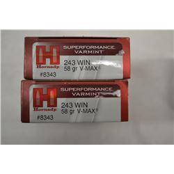 40 ROUNDS HORNADY SUPERFORMANCE VARMINT 243 WIN 58 GRAIN