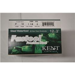 "25 ROUNDS KENT STEEL WATERFOWL 12GA 3"" 1 1/8 LOAD"