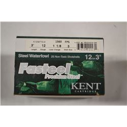 "25 ROUNDS KENT STEEL WATERFOWL 12GA 3"" 1 1/8 LOAD 3 SHOT"