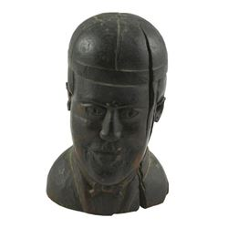 19thc Carved Wooden Head Sporting Figure