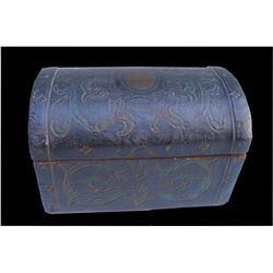 19thc Oilcloth Wooden Trinket Box