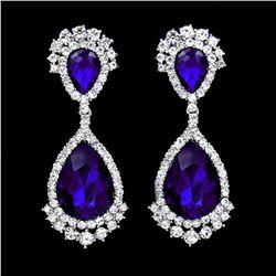 Rhodium Plated Blue Crystal Rhinestone Chandelier Drop Dangle Earrings