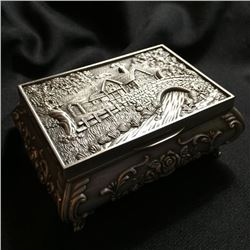 Silver Metal Rose Cottage Jewelry Box