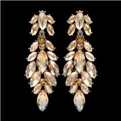 18K Gold Plated GP Topaz Crystal Rhinestone Wedding Drop Dangle Earrings