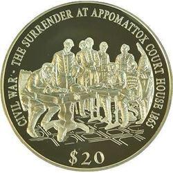 Liberia 2000 Civil War Surrender At Appomattox 20 Dollars Silver Proof Coin