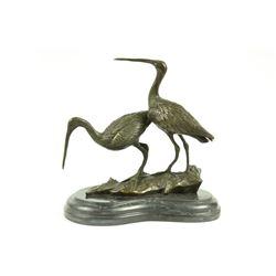 Original Signed two Wildlife Crane Cranes Pond Garden Bronze Sculpture Statue