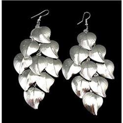Silver Falling Leaves Chandelier Earrings