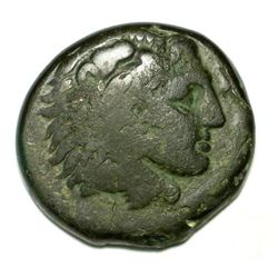 Greek Bronze Coin Alexander The Great Lionskin Bow Club Grapes Tarsus Mint Ae