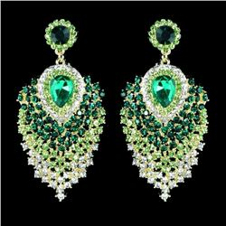 18K GP Green Crystal Peacock Feathers Chandelier Drop Dangle Earrings