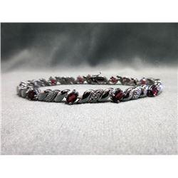 5 CT Garnet & Diamond Tennis Bracelet
