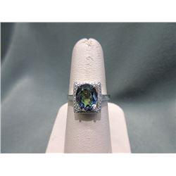 Large 3.5 CT Mystic Topaz & Diamond Ring