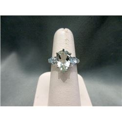 Huge Green Amethyst, Blue Topaz & Diamond Ring