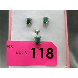 New Matching Emerald & Diamond Pendant & Earrings