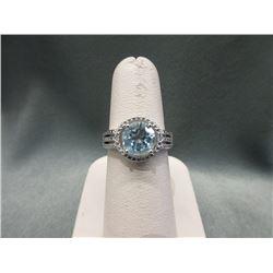 Huge 3 CT Blue Topaz & Diamond Ring