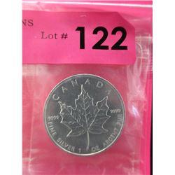 1 Oz. .9999 Fine Silver Canada Maple Leaf $5 Coin