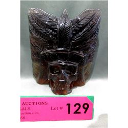 """5"""" x 5"""" Hand Carved Skull in Headdress"""