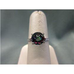Stunning Garnet & Mystic Topaz Solitaire Ring