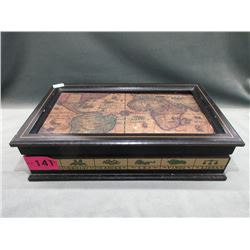 Large Wood Jewelry Box & Contents
