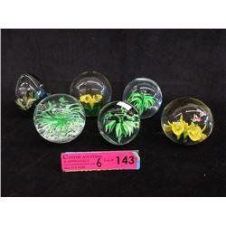 6 Art Glass Paper Weights