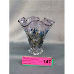 Signed Art Vargas Amethyst Art Glass Vase