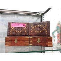 4 Brass Inlayed Wood Keepsake Boxes