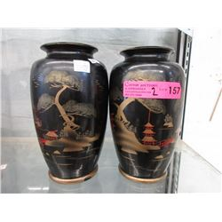 Pair of 1930s Hand Painted Japanese Vases
