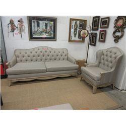 New Button Tufted Sofa & Arm Chair