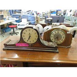 2 Vintage Mantle Clocks - One Has No Glass