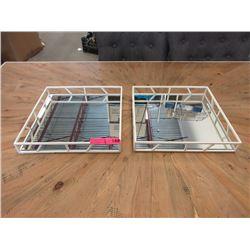 Pair of New Nate Berkus Mirrored Metal Trays