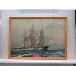 Wood Framed Vintage Ship Print